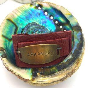 Handcrafted Maroon Leather ARKANSAS bracelet